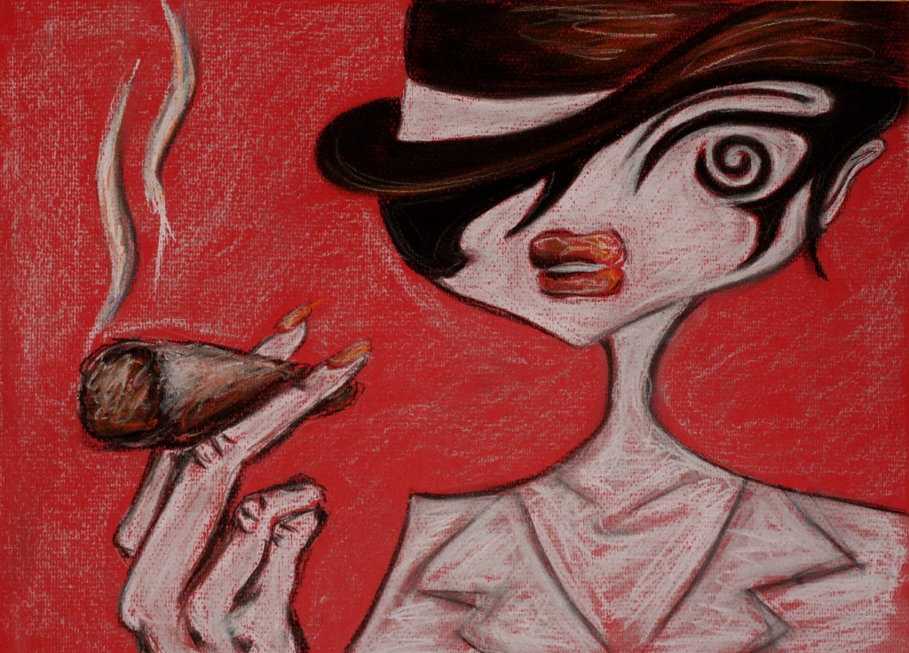 woman smoking joint pastel