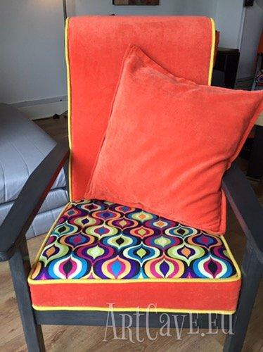 Kolejny odnowiony fotel – Zestawienie kontrastujących kolorów