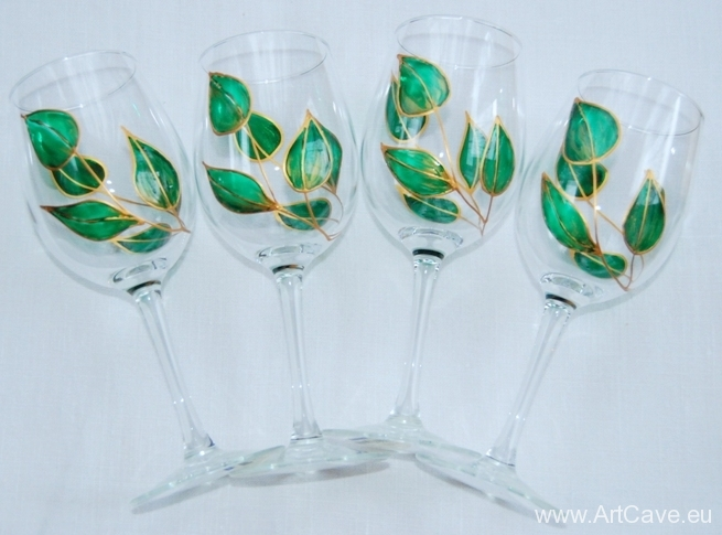 Painted Wine Glass Set
